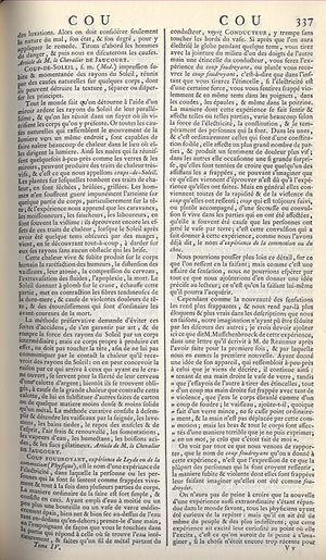 Jean-Baptiste Le Roy - First page of the article Coup foudroyant by Le Roy in the fourth volume of the Encyclopédie (1754).