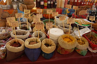 Pungency - A display of spices in Guadeloupe: some pungent, some not