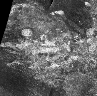 Erebor Mons - Cassini radar image (dark streaks are dunes)