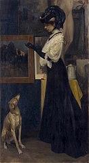 Dame mit Windspiel