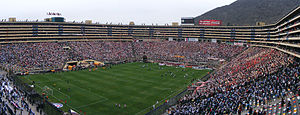 "Estadio Monumental ""U"" - Panoramic view of Universitario's 80,000-seater stadium on 13 December 2009 for the Descentralizado second leg playoff against rival Alianza Lima."