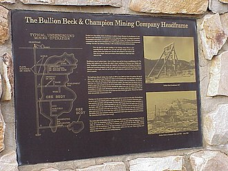 Eureka, Utah - Plaque explaining a mining headframe