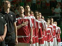 EuroBasket Qualifier Austria vs Croatia, Austrian anthem players.jpg