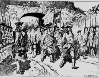 The evacuation of French forces from Port Royal after the English captured the settlement. The fall of Port Royal ended French control over the eastern peninsula of Acadia. EvacutionOfPortRoyal1710byCWJefferys.png