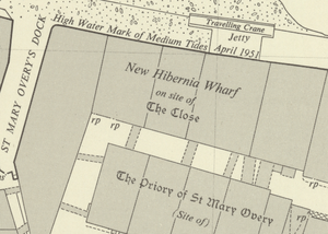 Minerva House - An extract from the Ordnance Survey 1:1,250 map of London sheet TQ3280SE published 1952 showing New Hibernia Wharf and environs