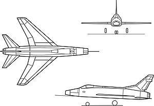 Orthographically projected diagram of the F-100 Super Sabre.