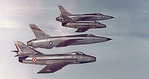 36th Wing - 22d TFS F-105s with French Air Force Dassault Mystère B2s from Cambrai Air Base - 1964.