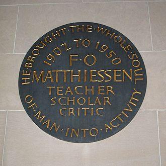 F. O. Matthiessen - F. O. Matthiessen tablet at Eliot House, Harvard University, Cambridge, Massachusetts, USA