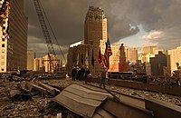 New York, NY, September 28, 2001 -- Debris on surrounding roofs at the site of the World Trade Center. Photo by Andrea Booher/ FEMA News Photo