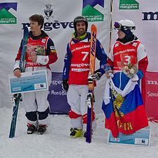 FIS Moguls World Cup 2015 Finals - Megève - 20150315 - Thomas Rowley, Anthony Benna et Alexandr Smyshlyaev.jpg