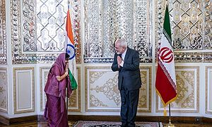 Sushma Swaraj - Iranian Foreign Minister Mohammad Javad Zarif greeting Swaraj in the Indian style