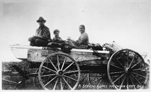 White Earth Indian Reservation - Family and goods in a wagon on the White Earth Reservation, 1934
