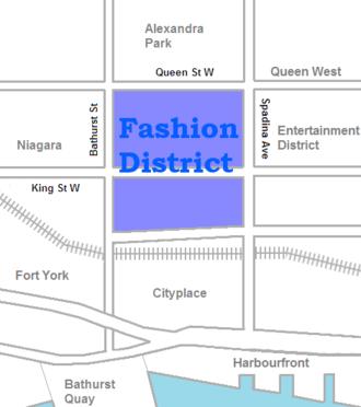 Fashion District, Toronto - Image: Fashion District map