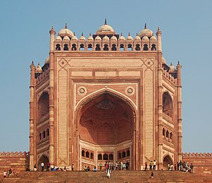 Akbar's conquest of Gujarat - Buland Darwaza at Fatehpur Sikri was built by Akbar in 1601 to commemorate his victory over Gujarat