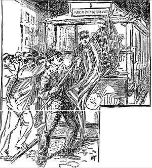 "History of Italian Americans in Boston - Artist's conception of the ""Federal Street Riot""."