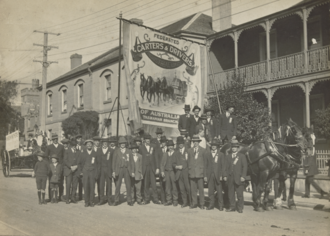 Transport Workers Union of Australia - Members of the Tasmanian branch of the Federated Carters and Drivers Union at an Eight-Hour-Day Parade, circa 1920.