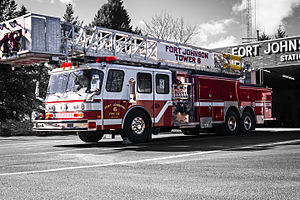 Firefighting apparatus - A ladder truck from the United States