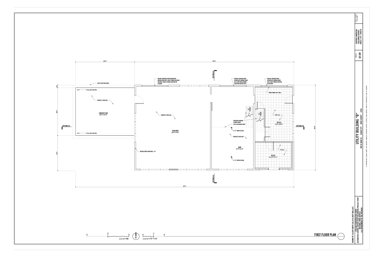 File first floor plan cedar city automotive repair shop for Shop floor plans