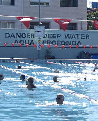 """Monkey Grip (novel) - The heritage-listed """"Aqua Profonda"""" sign at the Fitzroy baths, where many of the characters in Monkey Grip frequent during the hot summer days."""