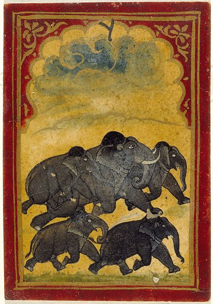 File:Five Galloping Elephants, Number Six of the Gajpati (Lord of Elephants) Suit, Playing Card from a Mughal Ganjifa Set LACMA M.73.55.10.jpg
