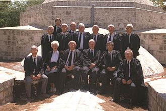 Menachem Elon - Menachem Elon (sitting third from left) With Supreme Court Justices on the roof of the old Israeli Supreme Court building in the Russian Compound in Jerusalem (1992)