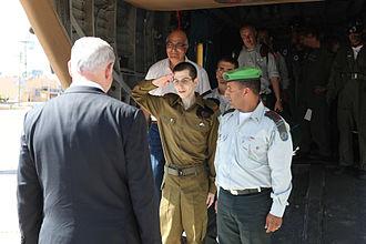 Gilad Shalit prisoner exchange - Israeli Prime Minister Benjamin Netanyahu welcoming Israel Defense Forces soldier Gilad Shalit at Tel Nof after his release from Hamas captivity.