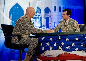 Cultural impact of The Colbert Report - Stephen Colbert interviewing a member of the U.S. army