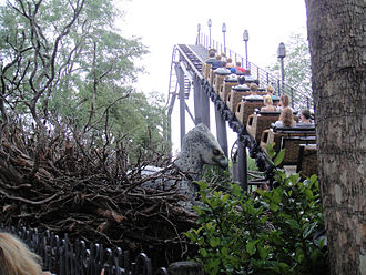 Hippogriff - An animatronic Hippogriff in the nest on the left side of the lift hill of the roller coaster Flight of the Hippogriff in Orlando, Florida