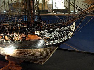 Musée national de la Marine - Model of the frigate ''Flore'', one of the items of the Trianon collection.