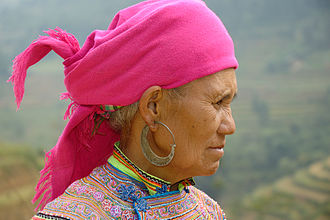 Hmong people - A Flower Hmong woman in Vietnam.