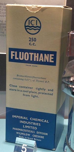 Halothane - Packaging of ICI Fluothane (their trade name for halothane)