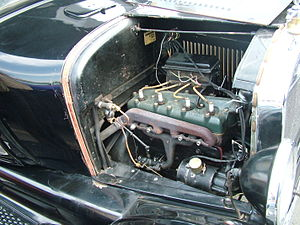 Trembler coil - Ford Model T engine. The rectangular black box behind the engine contains the trembler coils