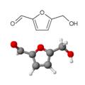Formula di struttura e modello tridimensionale dell'idrossimetilfurfurale.png