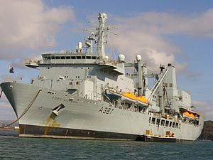 English: RFA Fort Victoria in Plymouth Sound.