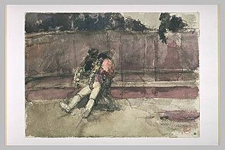Le Picador blessé, soutenu par deux hommes