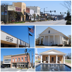 Top, left to right: Downtown Fountain Inn, Fountain Inn City Hall, Cannon Building, Fairview Presbyterian Church, Robert Quillen Office and Library