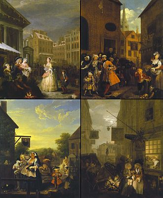 Four Times of the Day - The paintings of Four Times of the Day (clockwise from top left: Morning, Noon, Night, and Evening)