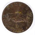 Framsida av mynt med bild av handslag samt text one cent piece 1791 - Skoklosters slott - 99246.tif