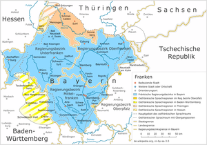 Tauber Franconia - East Franconian language regions in Baden-Württemberg (yellow) overlap roughly with Tauber Franconia