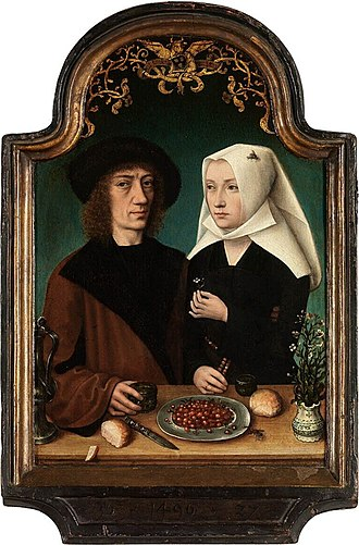 Master of Frankfurt - Master of Frankfurt, Self portrait of the artist with his wife, 1496. Royal Museum of Fine Arts, Antwerp. This painting, in its original, dated, frame of 1496 shows a double portrait of the artist and his wife. The painter has included life-sized trompe l'oeil flies—seemingly on the painting's surface—an allusion to the classical artistic deceptions of Zeuxis and Parrhasius.