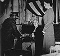 Franklin D. Roosevelt with his daughter Anna and Emperor Haile Selassie aboard USS Quincy (CA-71) on 13 February 1945.jpg