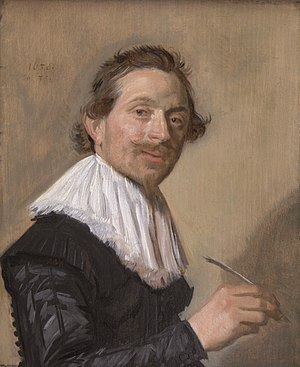 Jean de la Chambre - Portrait of Jean de la Chambre in 1638, holding his quill pen, by Frans Hals