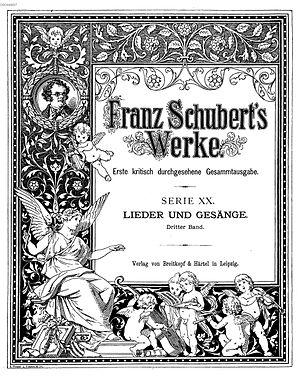 Franz Schubert's Works - Frontispiece of Series XX, volume 3 of Franz Schubert's Werke