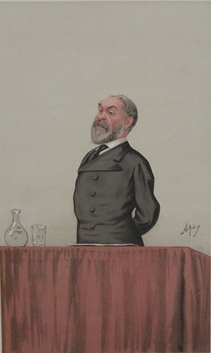 "Frederic Harrison - Cariacature of Frederic Harrison by Carlo Pellegrini(d.1889) Ape, published in Vanity Fair, 23/1/1886. Caption: ""An apostle of Positivism"""