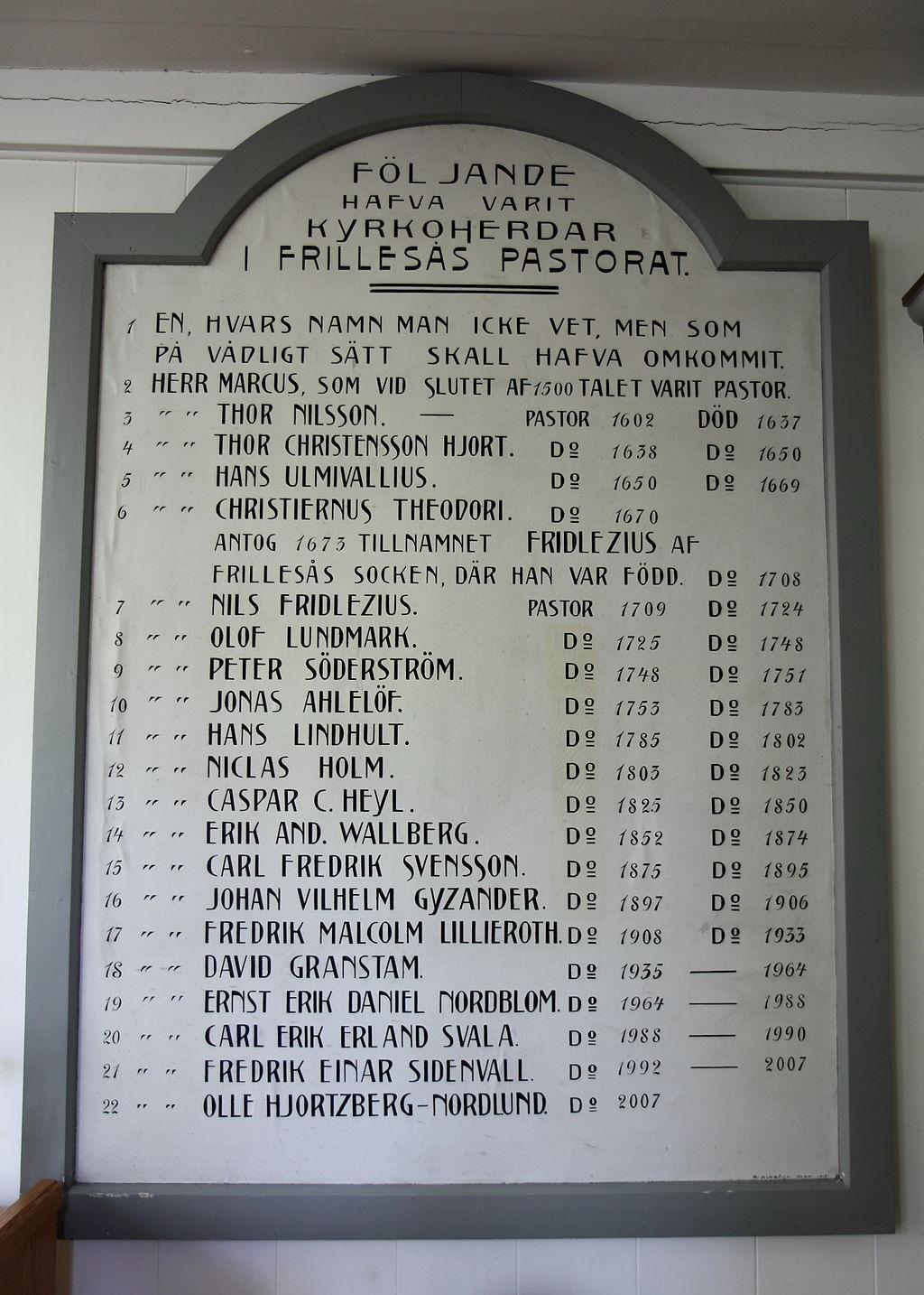Följande hafva varit kyrkoherdar i Frillesås pastorat. 1 En hvars namn man icke , men, som på vådligt sätt skall hafva omkommit. 2 Herr Marcus, som i slutet av 1500-talet varit pastor. etc