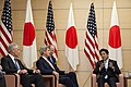 From left, U.S. Secretary of Defense Chuck Hagel and U.S. Secretary of State John Kerry meet with Japanese Prime Minister Shinzō Abe at Abe's residence in Tokyo Oct. 3, 2013 131003-D-BW835-1212.jpg
