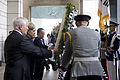 From left, U.S. Secretary of Defense Robert Gates, U.S. Secretary of State Hillary Rodham Clinton, South Korean Foreign Minister Yu Myung-hwan and South Korean Minister of Defense Kim Tae-young lay a wreath as 100721-D-JB366-014.jpg