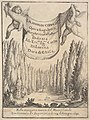 Frontispiece for 'The Cypress Forest' (La selva di cipressi)- two putti hold a tapestry in center, a forest of cypress trees and statues below, a skull and bones on the ground MET DP827812.jpg