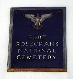 Fort Rosecrans National Cemetery - Image: Ft rosecrans entry plaque