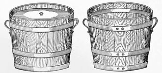 Pail closet - A full pail, complete with lid (left), and an empty pail, ready to be returned. These are Rochdale pails, made from wood. Manchester's pails were made from galvanised iron, with India-rubber beading around the lids to seal them.